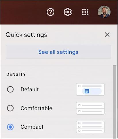 gmail easy settings menu