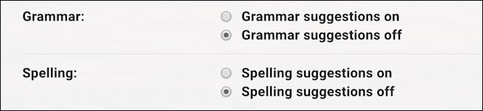 gmail spelling suggestions on grammar settings preferences