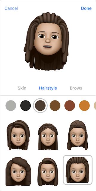 iphone create memoji - hairstyle