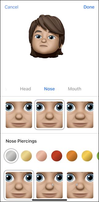 iphone create memoji - choose eye color