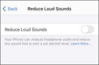 ios14 iphone settings - reduce loud sounds - defaults