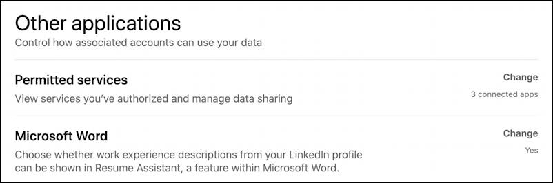 linkedin settings & privacy > other applications
