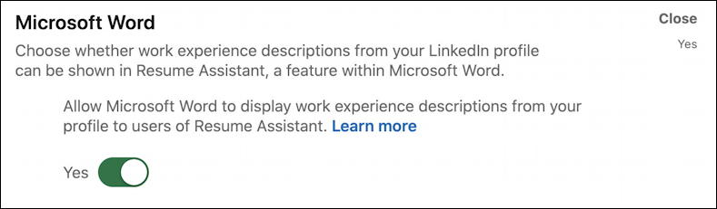 disable microsoft word resume assistant linkedin profile data privacy