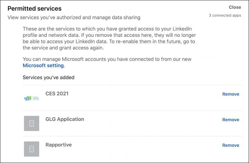 linkedin privacy profile data - apps with access permission