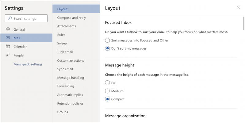 outlook.com settings preferences layout density