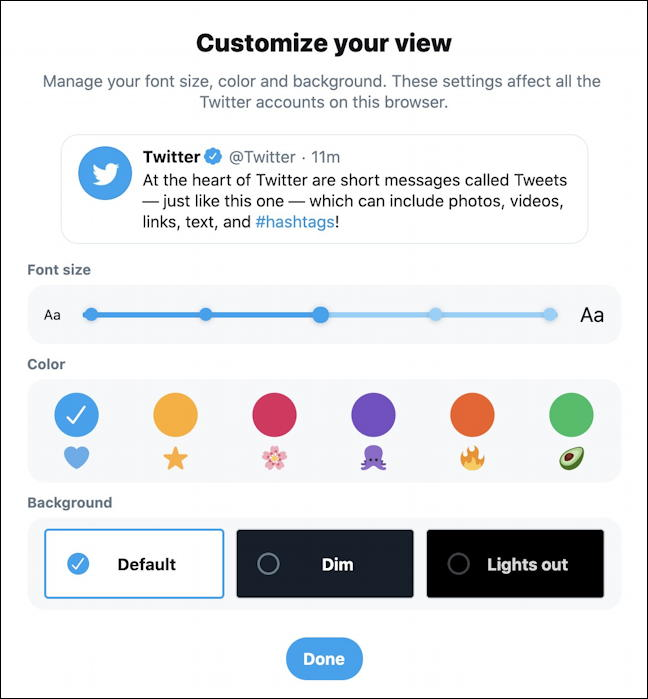 twitter more display theme colors text size