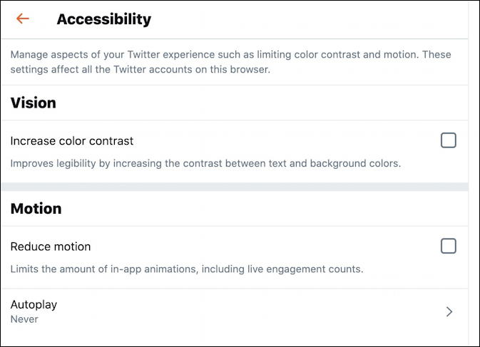 twitter ada accessibility settings options preferences