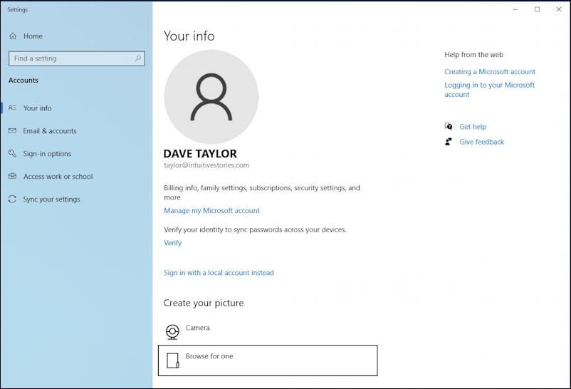 account settings windows 10 pc profile picture