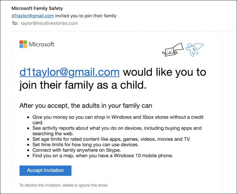 win10 pc add child user account - email invite
