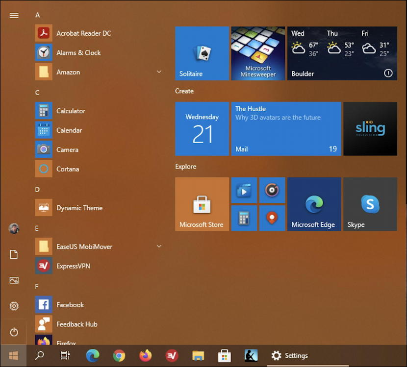 old windows 10 start menu