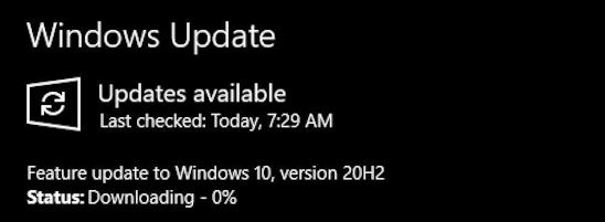 downloading windows 20h2 october 2020 update