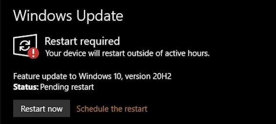 windows 10 update - restart required