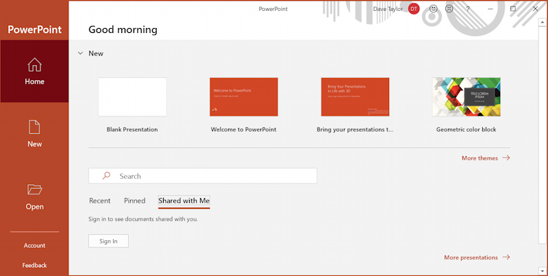 microsoft office - powerpoint - new document