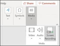 win10 screen recording powerpoint - file insert media screen recording