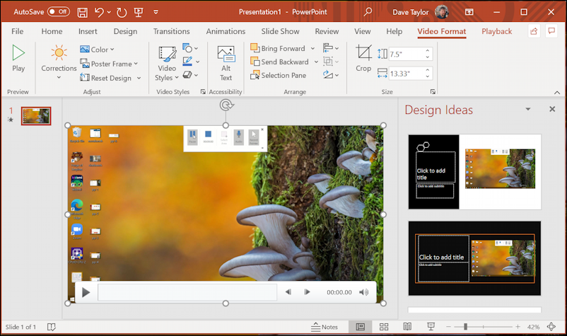 win10 screen recording powerpoint - new recording on slide