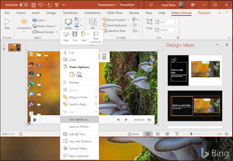 win10 screen recording powerpoint - save recording as mp4 video file