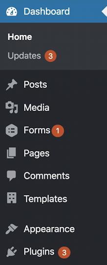 wordpress wp-admin - updates on menu