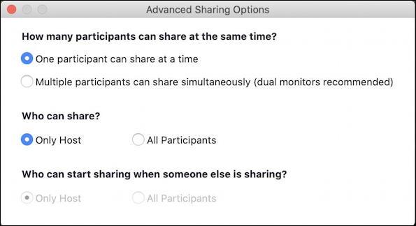 zoom share screen host settings default