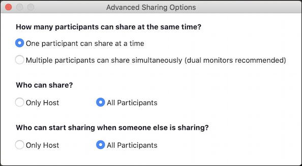 zoom share screen host settings group sharing enabled