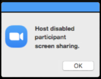 zoom fix solve host disabled participant screen sharing error problem security