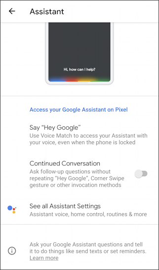 android settings - assistant settings hey google