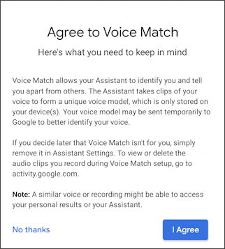 android - agree to voice match