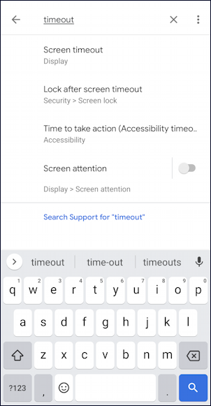 android settings - search for timeout