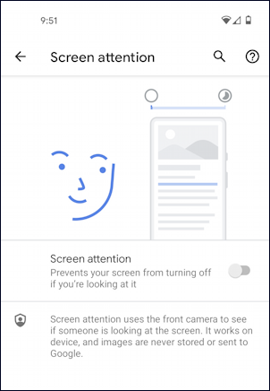 android screen attention camera monitoring