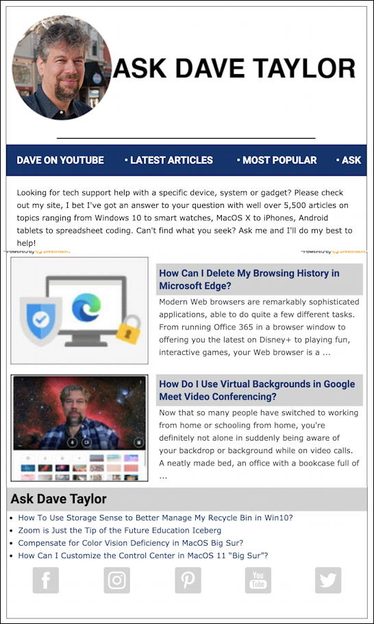 askdavetaylor weekly email newsletter thumbnail