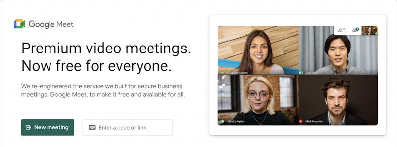 google meet - main screen