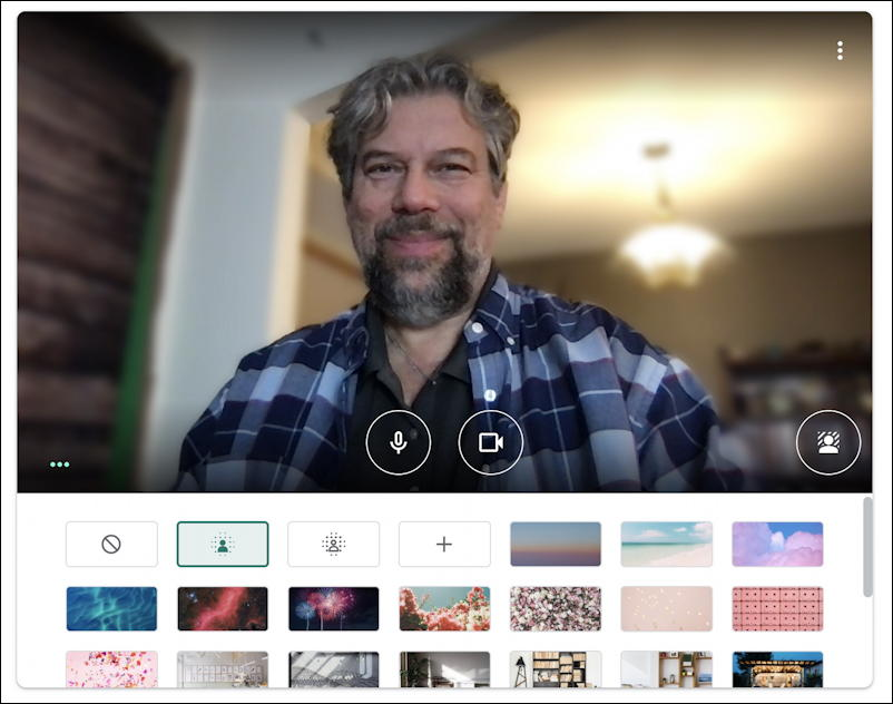google meet - instant meeting - virtual backgrounds - small background blur