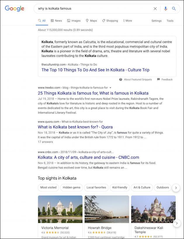 google search results kalkuta
