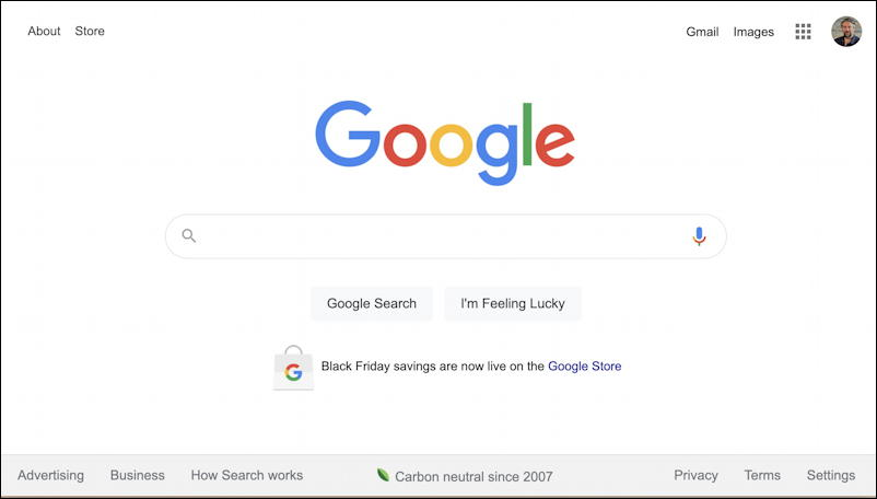 google home page, black friday, november 2020