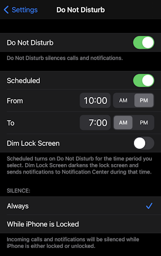ios14 iphone do not disturb driving carplay preferences