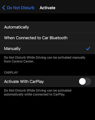 enable do not disturb while driving iphone ios14 settings