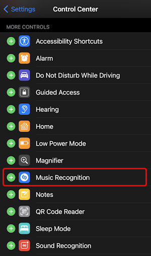 ios14 iphone settings - control center - enable disabled controls turn on