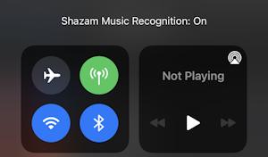 ios14 iphone control center - shazam listening music recognition