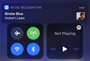 ios14 iphone control center - song identified shazam hubert laws bimbe blues