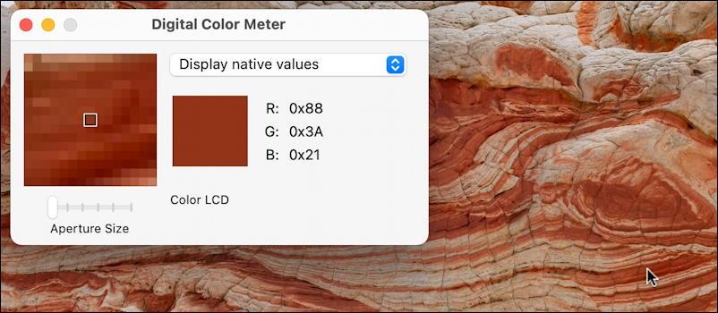 macos 11 big sur - digital color meter utility - hex value