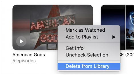 mac macos tv app - context menu delete content movie tv