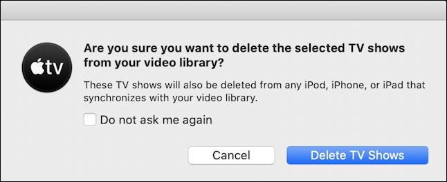 mac macos tv app - delete movie tv show?