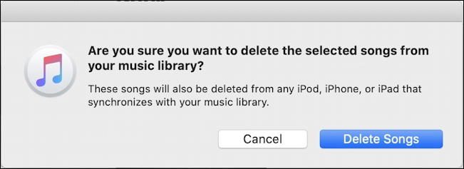 apple mac macos x - itunes music - sure you want to delete?