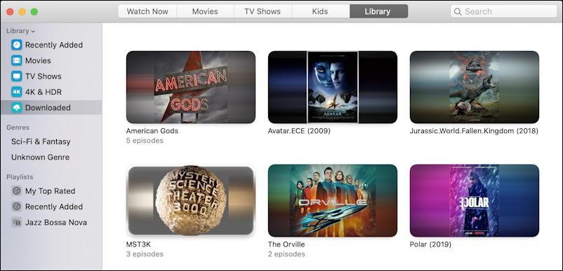 mac macos tv app - library view