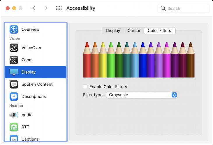 macos 11 big sur - accessibility - display color filters