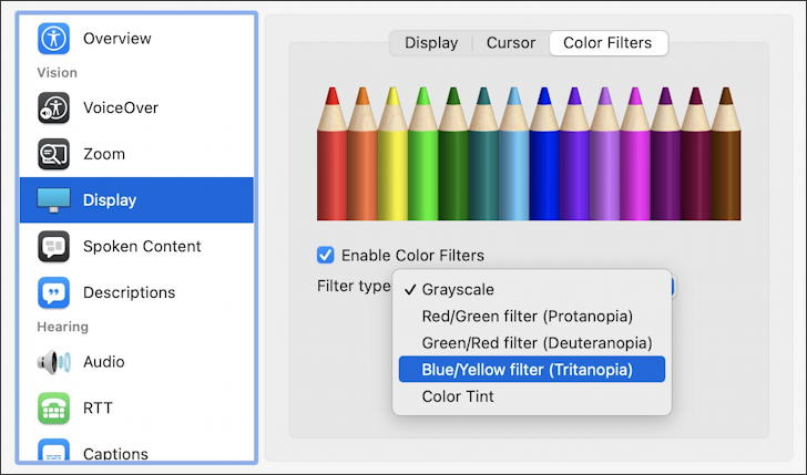 macos 11 big sur - accessibility - display color filters choose deficiency blindness