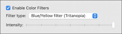 macos 11 big sur - accessibility - display color filters adjust intensity