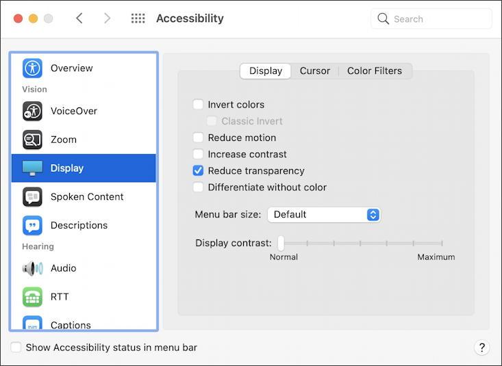 macos 11 big sur - accessibility - display