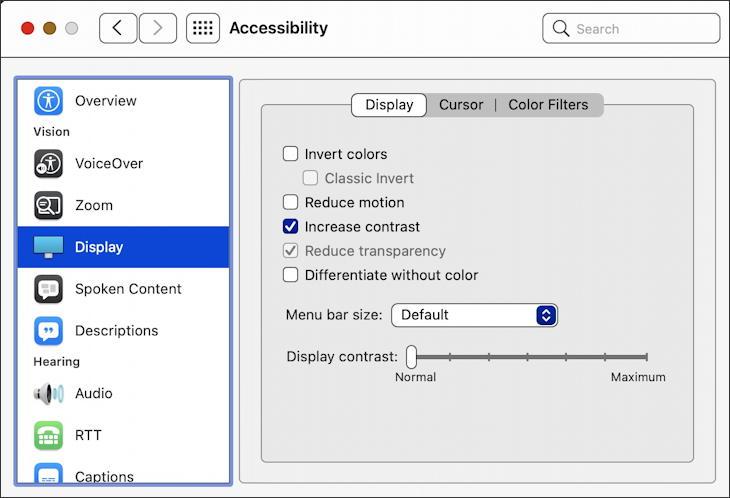 macos 11 big sur - accessibility - display - increased contrast