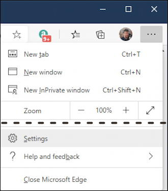 microsoft edge windows privacy - settings menu