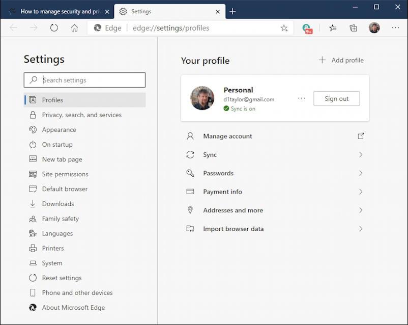 microsoft edge windows privacy - settings screen
